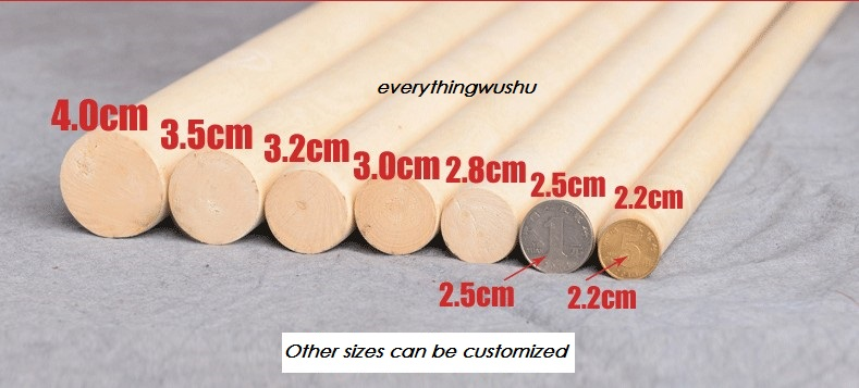 White Wax Wood Shaolin Sticks Nangun Taolu Gun Wushu Sticks Shaolin Kungfu Crudgel