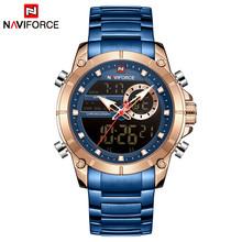 Часы NAVIFORCE мужские, спортивные, синие, военные, кварцевые, стальные, водонепроницаемые, с двойным дисплеем(Китай)