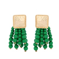 New 2019 European and American personality fashion long wooden beads tassel earrings bohemian alloy earrings