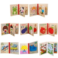 2019 New Style Wholesale Customization Vegetables Cognitive Toy Mini Fruit Wooden Puzzle Book