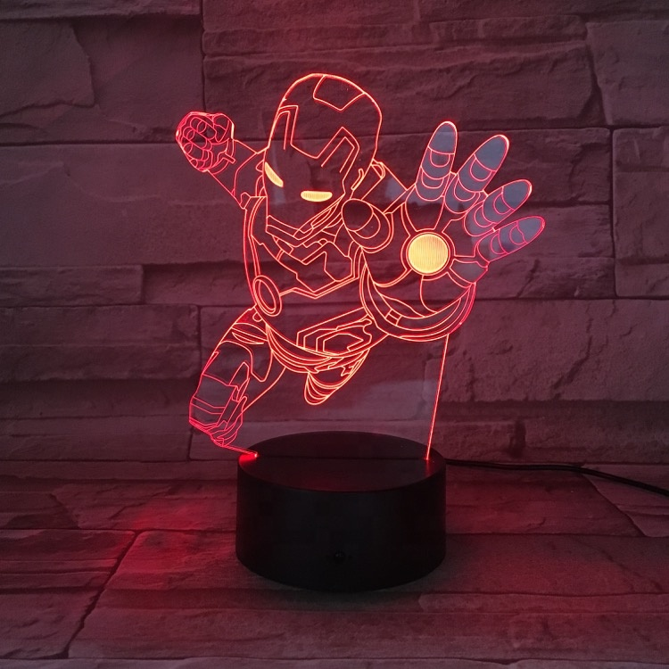 3D Kids Night <strong>Lamp</strong> The Avengers Superhero Captain America Hulk Black Panther Ironman LED Night Light for Child