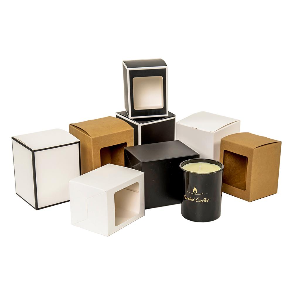 Custom Opvouwbare Theelichtje Stijve Papier Kaars Zeep Jar Houder Vouwen Kraft Geschenkdoos Platte Verpakking Verpakking Luxe Kaars Doos