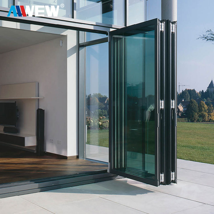 Alwew China Aluminum Balcony Patio Foldable Glass Folding Door Manufacture