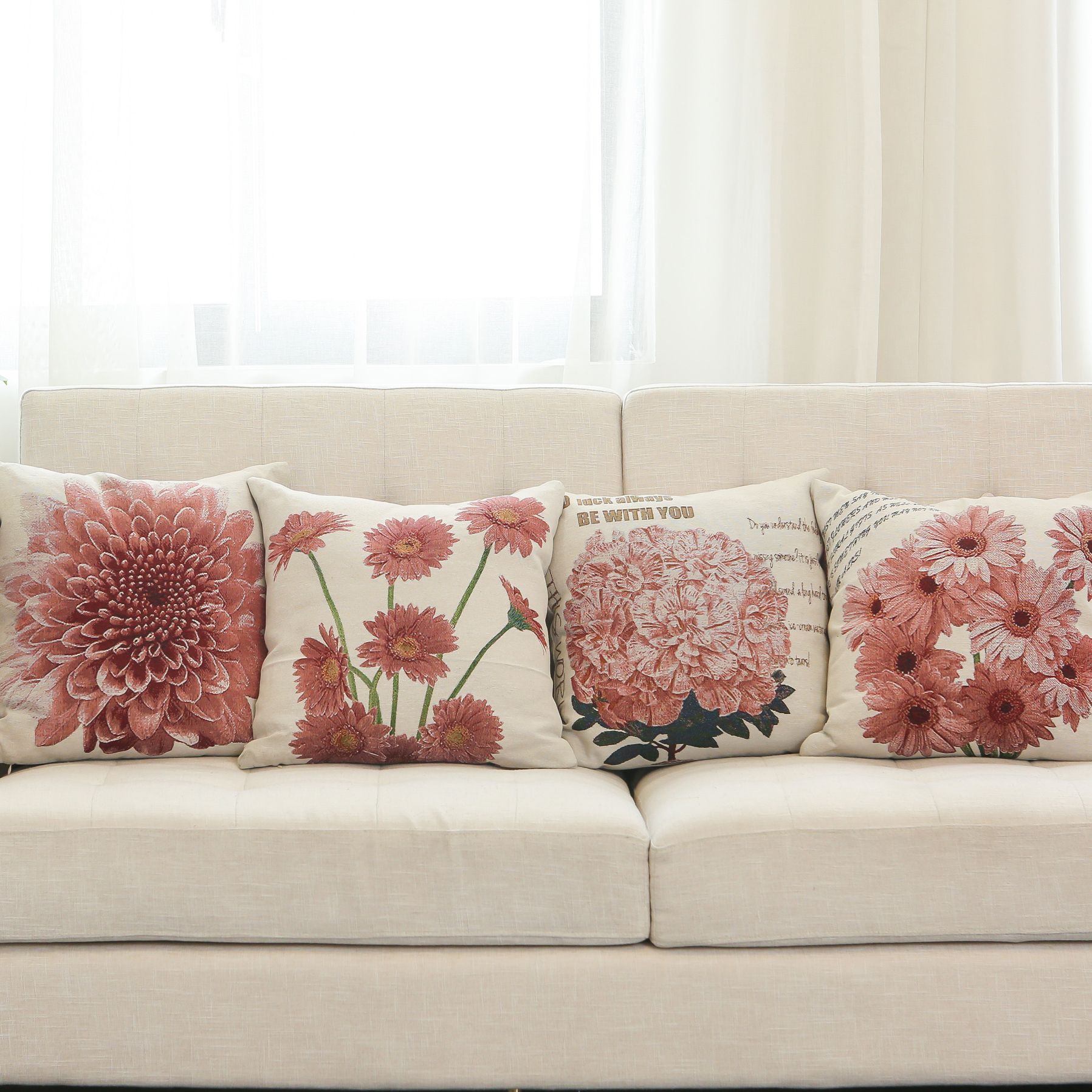 Hot Sale Flower Series Pink Cream Jacquard Floral Throw Pillows Decorative Pillow Set for Sofa Couch Living Room