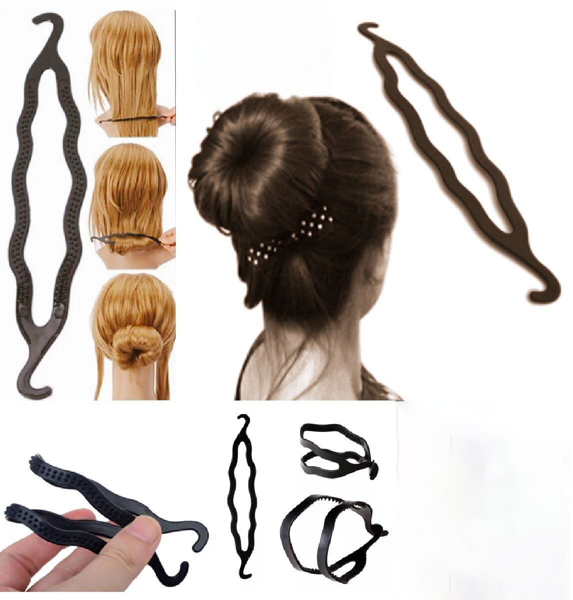 Brand new high quality hair donut buns plastic twist bar double hook hair artifact spherical ball head braider