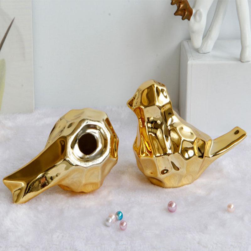 Creative Abstract Style Modern Ceramic Ornaments European Gold Bird Shape Desktop Home Decoration For Sale