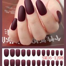 24 шт Мягкие однотонные круглые накладные ногти, матовые накладные ногти, овальные матовые накладные ногти, искусственные супер яркие блест...(Китай)