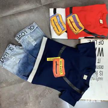 De manga corta bolsa impresa camiseta amor jean pantalones 2 piezas de moda Niño ropa conjunto 2-6year ropa de los niños