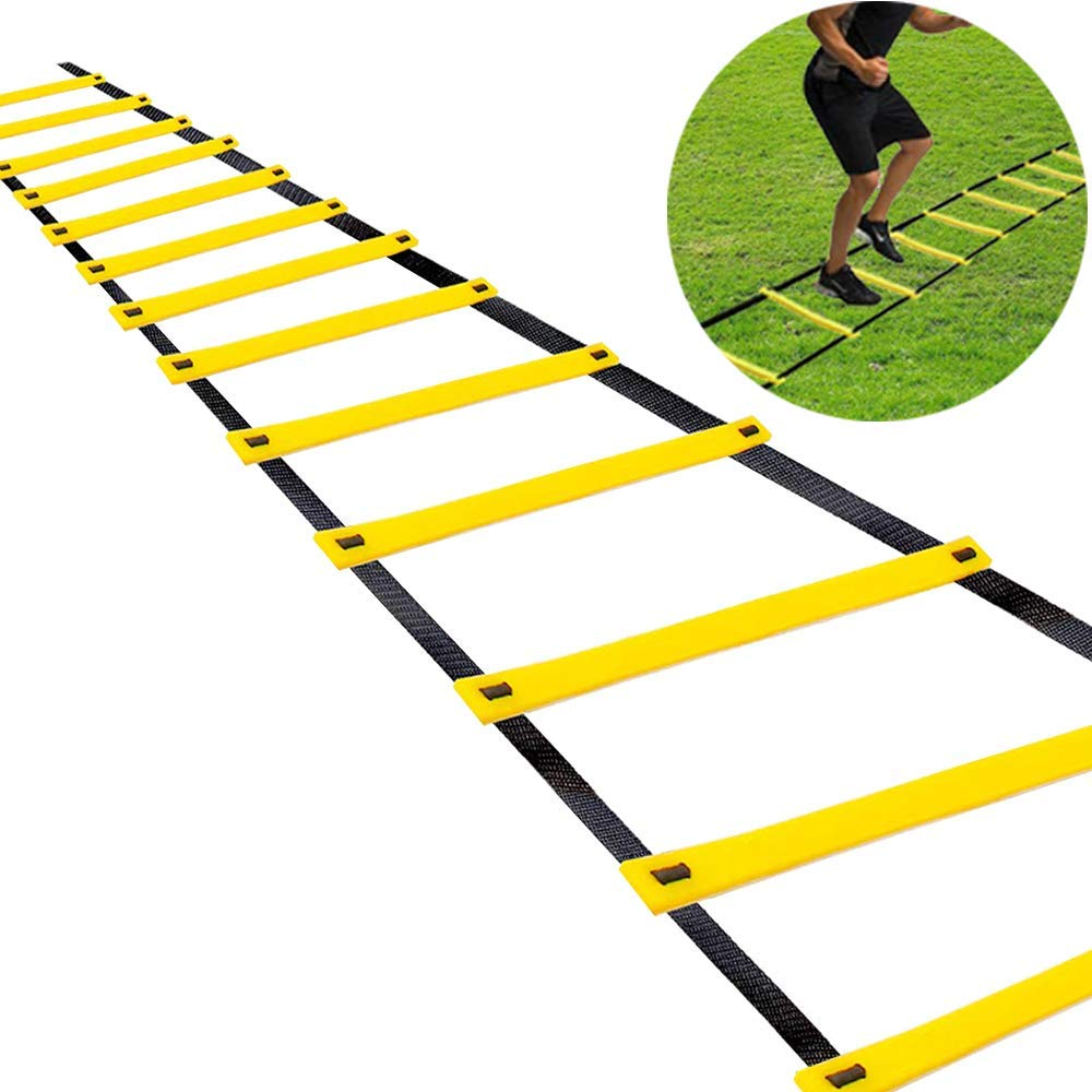 12 Rung 20ft High Quality Agility Ladder with Sports Exercise Agility Cone