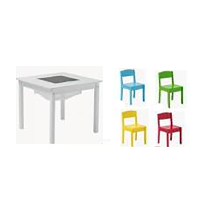 Wooden Activity Table And Chair Set, Young Children'S Table 1-5 Years Old Kids Chair With Stool