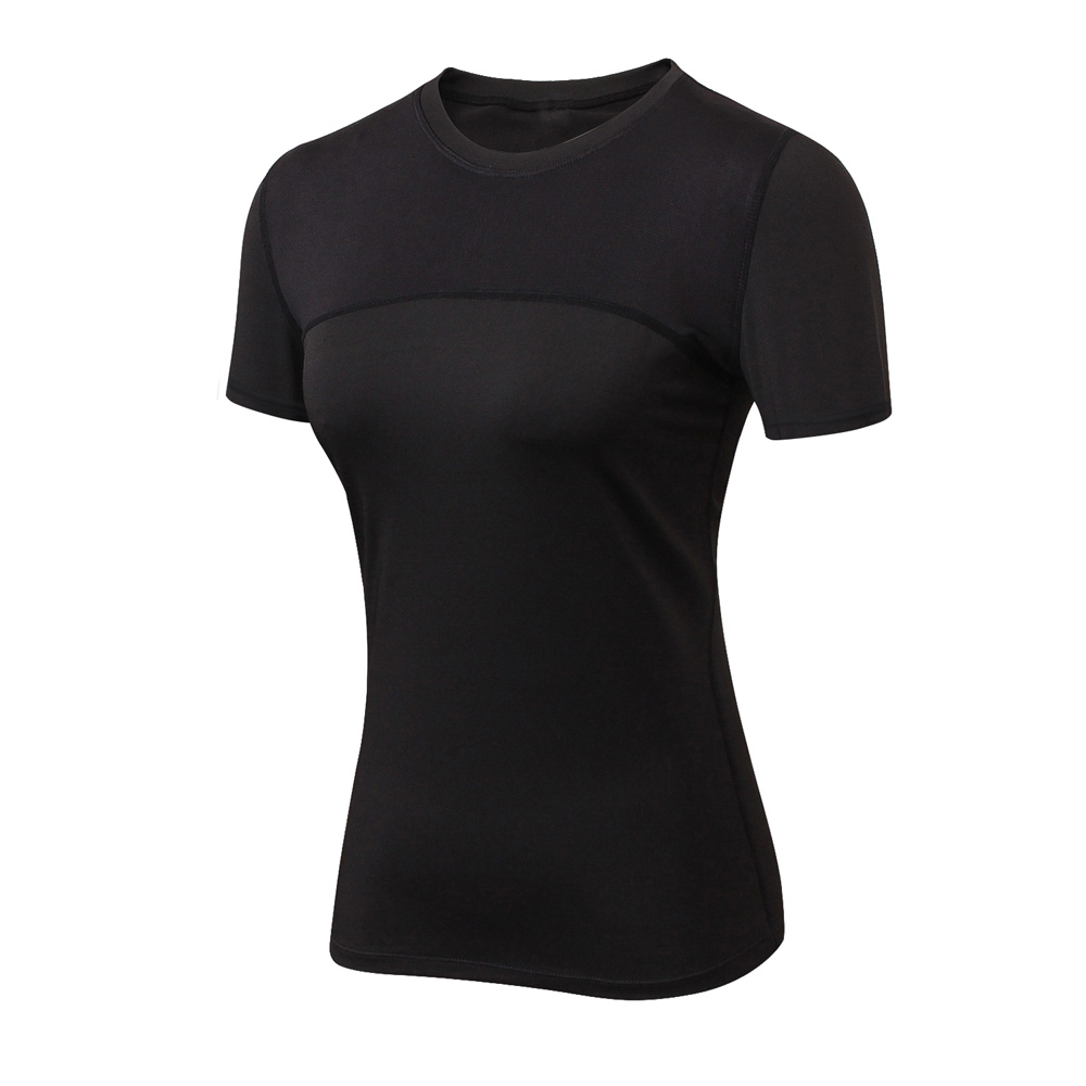 Black white Promotion Dry Fit Sports Gym T Shirt Wholesale Women's Fitness Workout Clothing