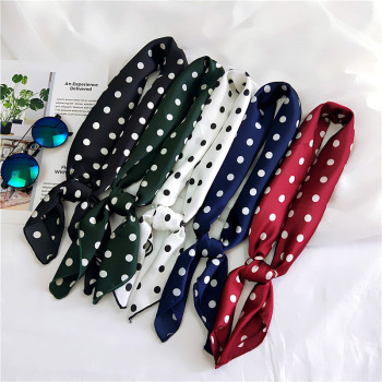 70*70cm Women Spring Summer Head Neck Hair Tie Band Vintage Square Skinny Dot Silk Scarf