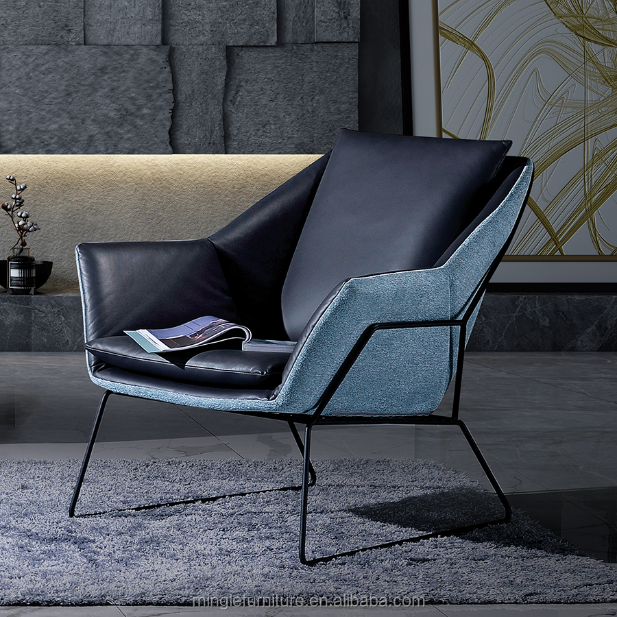 2019 new design fabric metal armchair leather back leisure chair for living room
