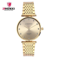 CHENXI 072C New 2019 Couple Man Quartz Wrist Watches Fashion Simple Diamond Stainless Steel Design Watches