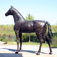 Metal animal sculpture bronze standing horse statue