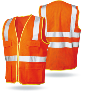 Fluorescent wholesale hi-vis tricot safety vest with AS/NZS Reflective safety Workwear