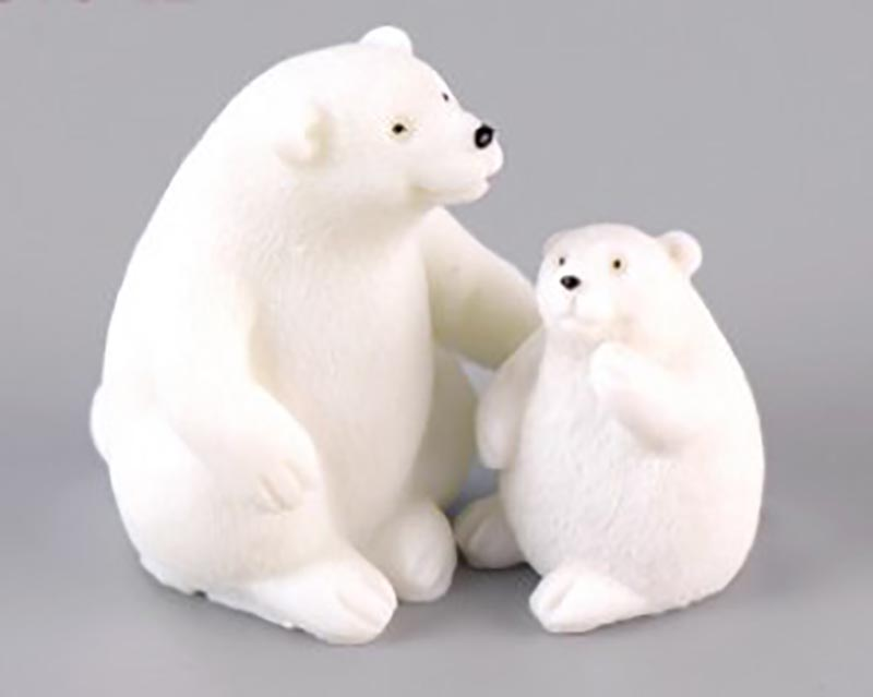 Hot Sale Terrarium Miniature Resin Decoration Sweet Polar Bear Mom with Baby