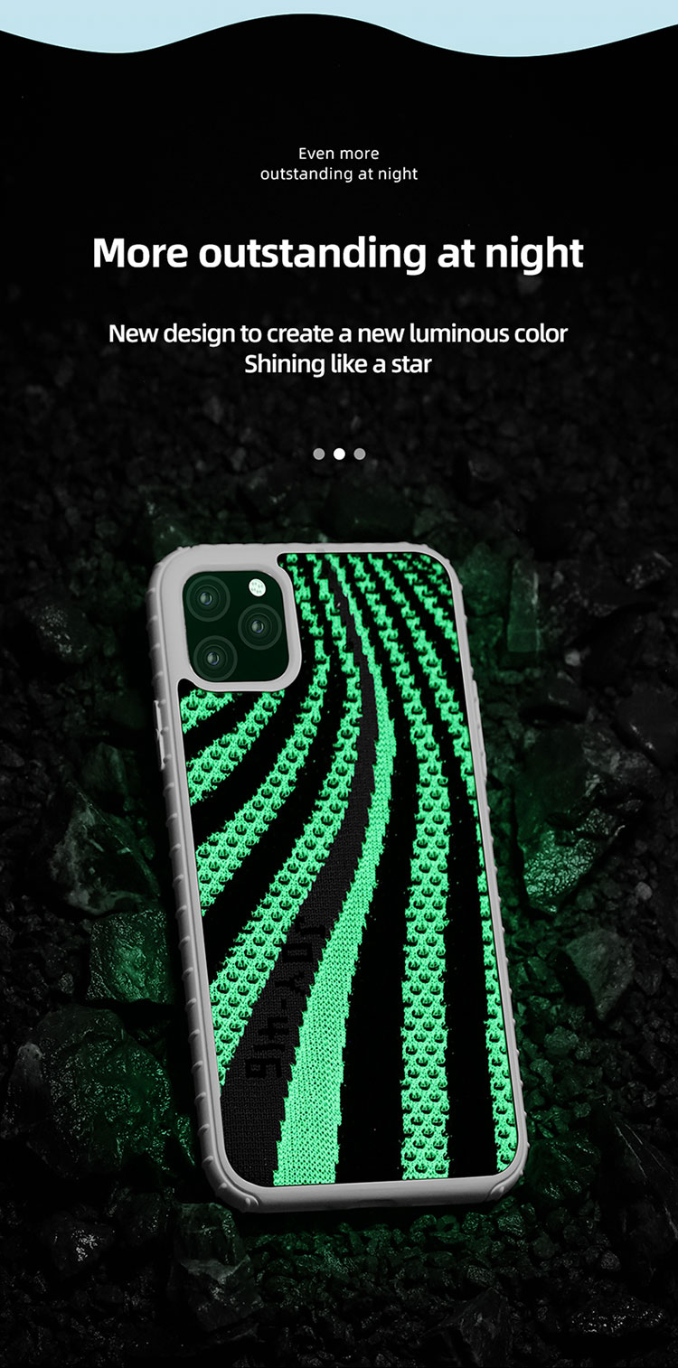 Joyroom hot sale 5.8/6.1/6.5 inch fabric custom in the dark silicon cell glitter phone case glow for iPhone 11