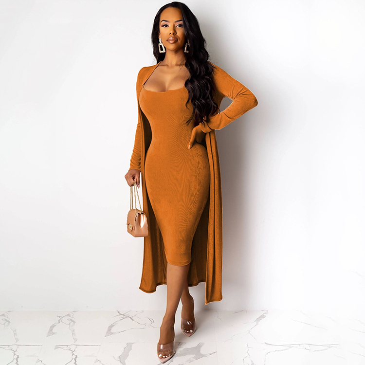 Outfits Women Two Pieces 2019 Fall Winter Sleeveless Solid 2 piece Bodycon Velvet <strong>Dress</strong> With Long Coat