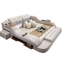 Modern multifunctional message leather bed with speaker and storage furniture bed