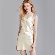 Шелковое платье для сна, тонкая ночная рубашка, женская одежда, летняя юбка на подтяжках, домашняя одежда с v-образным вырезом, без рукавов(Китай)