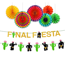 Fiesta Theme bachelorette PARTY decorations GOLD Glitter Final แบนเนอร์ Fiesta และ Man Garland กระดาษพัดลมชุด Hen PARTY Supplies