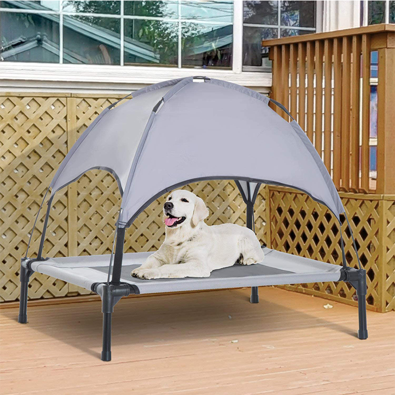 Elevated Portable Dog Cot Cooling Pet Bed with UV Protection Canopy Shade