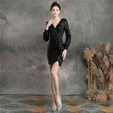 Женское платье с v-образным вырезом It's Yiiya, расшитое блестками платье для выпускного вечера с длинным рукавом, мини-платье на молнии размера ...(China)