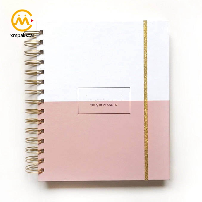 Factory wholesale black hardcover gold spiral bound notebook custom printing organiser planner