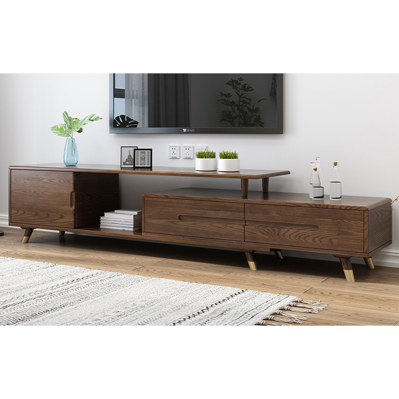 product-Modern wooden tv stand furniture extendable real wood tv cabinet designs for living room gol-1