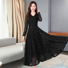 2020 винтажные черные кружевные миди платья с блестками весна лето 3XL размера плюс подиумное Макси платье элегантные женские облегающие вече...(Китай)