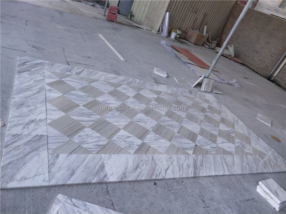 Volakas white marble and white wooden marble floor designs
