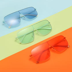 Rimless Sunglasses Transparent Candy Color Eyewear