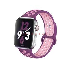 Спортивный силиконовый ремешок для Apple watch band 44 мм 40 мм iWatch band 42 мм 38 мм Спортивный Браслет Apple watch serie 5 4 3 2 38 4042 44 мм(Китай)
