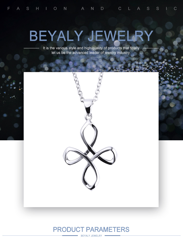 product-BEYALY-925 Silver Hollow Knot Cross Design Charms Pendants-img
