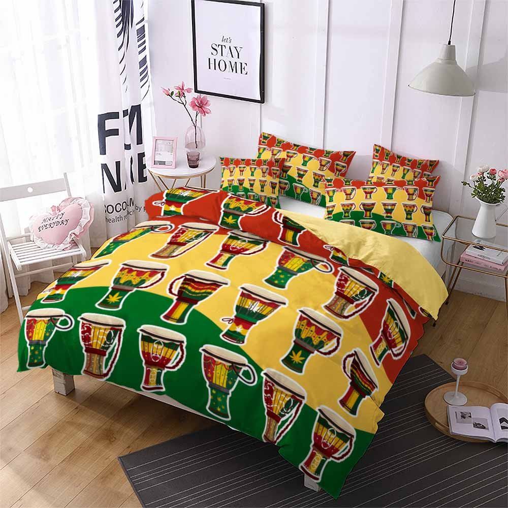 High Quality 3D Print African Style Drum And Mask Patten Bedding Set Duvet Cover Set
