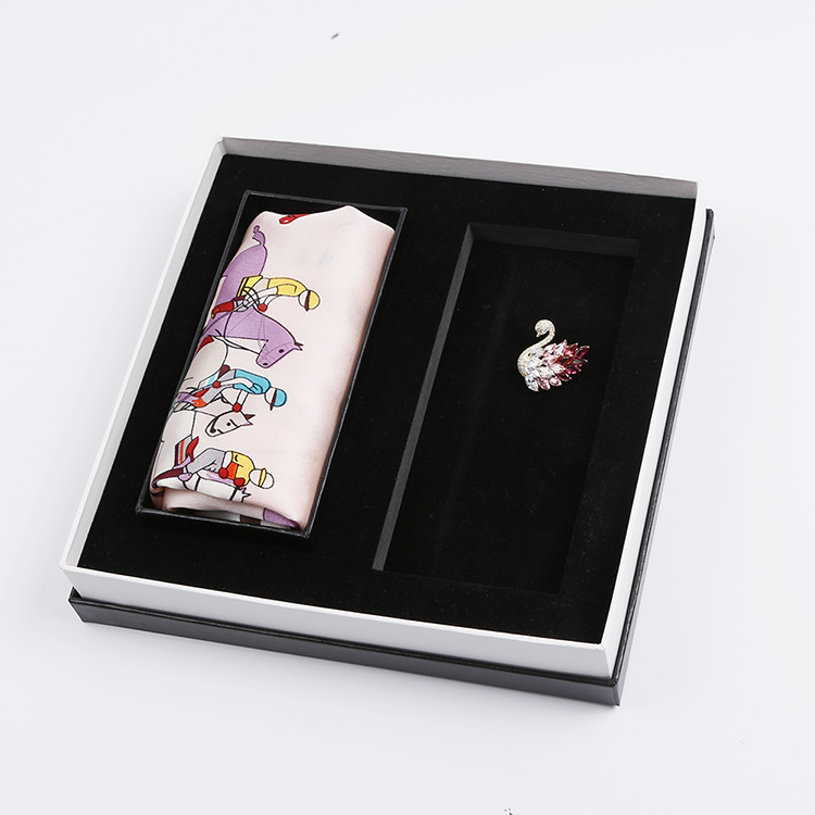 Elegant Birthday Gift set Pure Silk Mimi Square Scarf and Swan Zircon Brooch Set for Sister