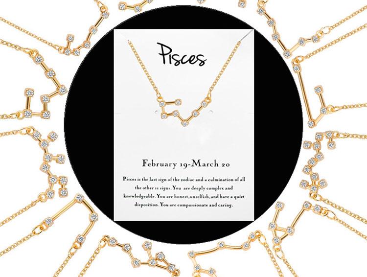 Female Elegant 12 Constellation Sign Pendants Charm rhinestone Choker Astrology Necklaces Zodiac Necklace Stainless Steel