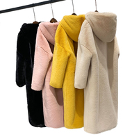 New Winter Warm Clothes Ladies Faux Fur Oversize Hoodie Jacket Loose Overcoat Women Custom Faux Fur Jacket
