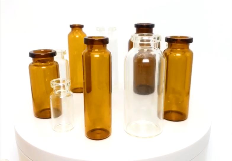 1-30ml bernstein oder klar borosilikat und soda lime glas pharma glas fläschchen mit gummi stopper