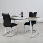 Modern design rectangular small white wooden tabletop metal frame dinning table and 2 chairs