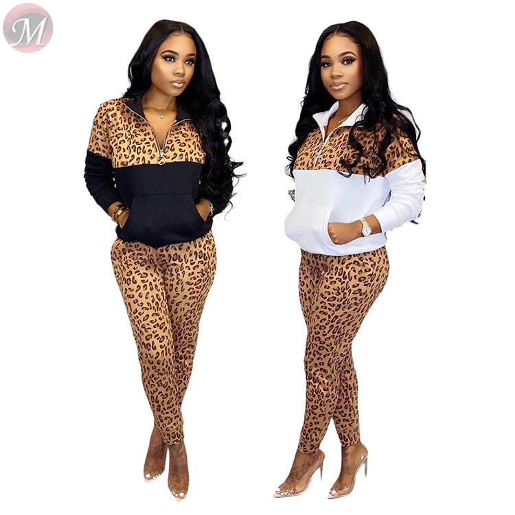 9121821 new design casual wear outside long sleeve leopard splice warm suit Women Winter Clothes