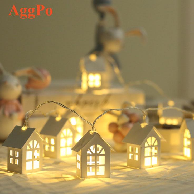 10 LED String Lights House Shape 6.5ft Battery Powered for Christmas, Winter, Wedding, Birthday