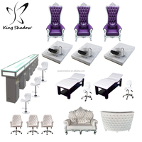 Beauty nail spa equipment salon furniture set throne pedicure chair with bowl