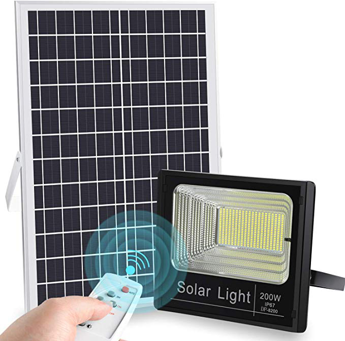 2019 Upgraded 200W LED Solar <strong>Flood</strong> Light for Backyard Garage Driveway Basketball Court