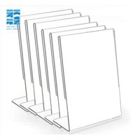 6 Pack Clear Acrylic Slant Back Sign Holder 8.5x11 , Large Plastic Table Menu Display Stand Holder, Plexi Single Ad Frame