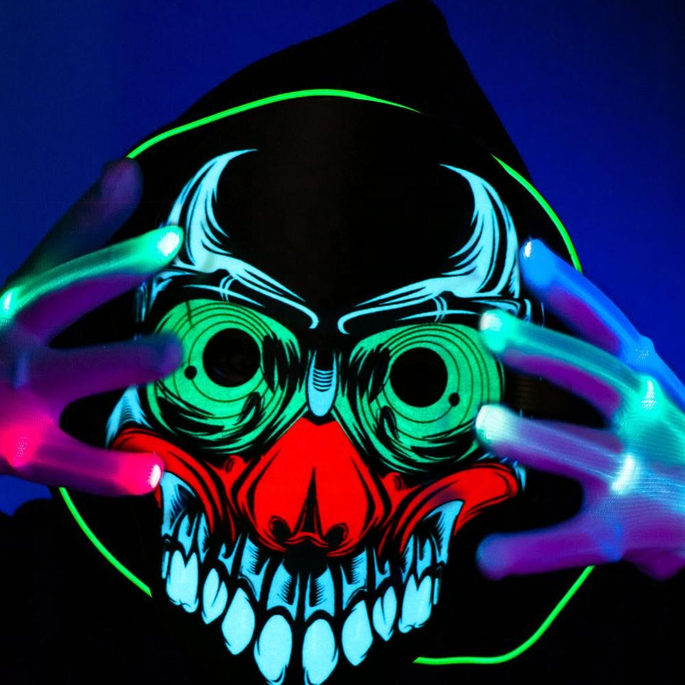 OurWarm מסכת אימת סאונד הופעל LED מלא פנים שלד מסכת ליצן מסקרה עבור ליל כל הקדושים מפלגה