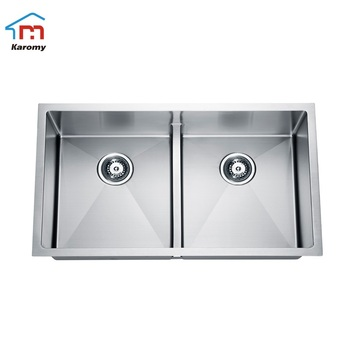 Customized family restaurant hand wash basin sink handmade undermount deep double bowl 304 stainless steel kitchen sink