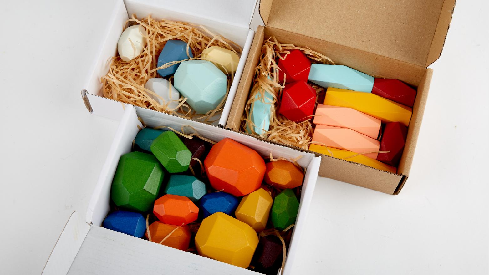 ชุดของขวัญสำหรับเด็ก,ชุดหินสีรุ้งของเล่นไม้บล็อคสร้างสมดุลย์มอนเตสซอรี่ของเล่นไม้ซ้อนกัน