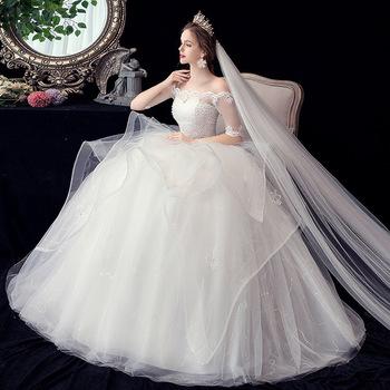 2020 Spring New Design Elegant Korea Style 3xl Plus Size Bride Flat Shoulder Half Sleeve Beaded Lace Wedding Dresses Buy Vestidos De Boda De Media Manga De Talla Grande 3xl Vestidos De